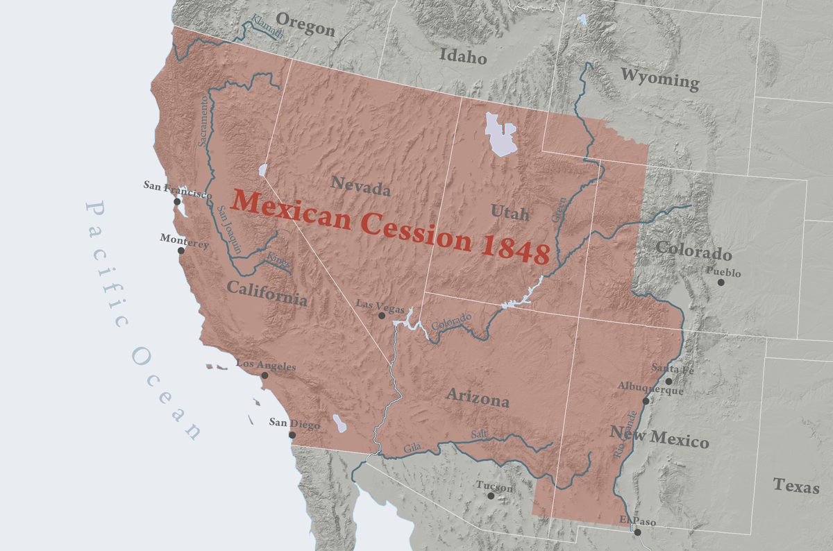 Mexican Cession Wikipedia - Mexico and usa map