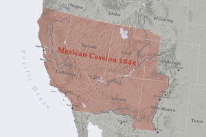 Mexican Cession - Area Mexico ceded to the United States in 1848, minus Texan claims. The Mexican Cession consisted of present-day U.S. states of California, Nevada, Utah, most of Arizona, about half of New Mexico, about a quarter of Colorado, and a small section of Wyoming.