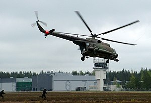 Utti Airport - Mil Mi-8 helicopter of the Finnish Army at the airport