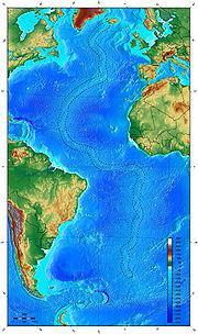 Mapa mostrando a localização da dorsal meso-atlântica