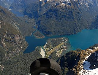 Milford Sound Airport - A view of Milford Sound Airport from a Glenorchy Air GA8 aircraft