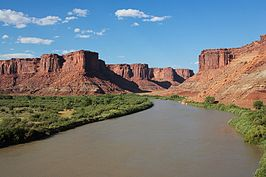 Green River in de buurt van het Canyonlands National Park