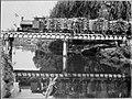 Miranui Flaxmill locomotive crossing the Tokomaru Stream, near Shannon (1908). Palmerston North City Library, digitisation ID 2007N Fx91 FLA 0636.jpg