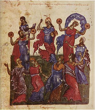 """Music technology (mechanical) - Miriam and women celebrate the crossing of the Red Sea with """"timbrels"""" (small hand drums) (from the Tomić Psalter)."""