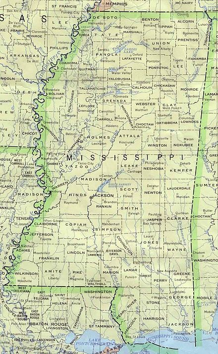 Map with all counties and their county seats Mississippi 90.jpg