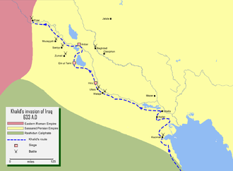 Khalid ibn al-Walid - Map detailing the route of Khalid ibn Walid's conquest of lower Mesopotamia (Iraq).