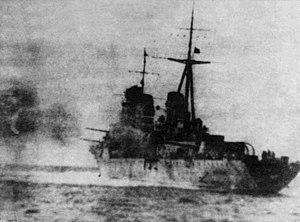Soviet cruiser Molotov - Molotov firing