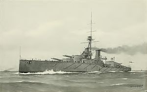 HMS Monarch (1911) - A painting of Monarch under way by William Frederick Mitchell, from the 1912 edition of Brassey's Naval Annual