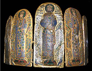 Labarum - The emperor Constantine Monomachos (centre panel of a Byzantine enamelled crown) holding a miniature labarum