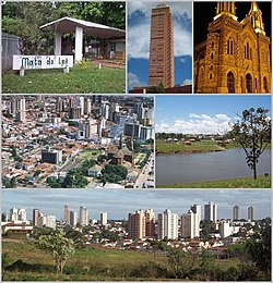 Top left: Mata do Ipe Ecological Park, Top middle: Manhattan Flat Service Foundation in Frei Fugenio Square, Top right: Sao Domingos Church, Middle left: Areal View in Centro area, Middle right: Acacias Park (Parque das Acacias), Bottom: Panorama view of Downtown Uberaba, from Jacaranda Zoological Park in Joao Luiz Alvarenza Street