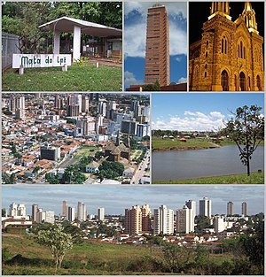 Uberaba - Top left:Mata do Ipe Ecological Park, Top middle:Manhattan Flat Service Foundation in Frei Fugenio Square, Top right:Sao Domingos Church, Middle left:Areal View in Centro area, Middle right:Acacias Park (Parque das Acacias), Bottom:Panorama view of Downtown Uberaba, from Jacaranda Zoological Park in Joao Luiz Alvarenza Street