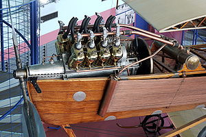 Fuel injection - An Antoinette mechanically fuel-injected V8 aviation engine of 1909, mounted in a preserved Antoinette VII monoplane aircraft.