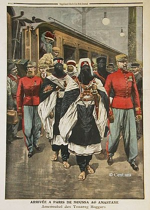 Tuareg people - Tuareg chief Moussa Ag Amastan arriving in Paris, 1910