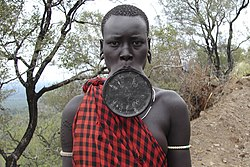 Mursi woman with a lip plate