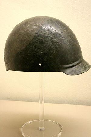 Coolus helmet - Bronze Gallic helmet, Coolus-Manheim-type; From the region of Tongeren, Belgium; Now in the Musée du Cinquantenaire, Brussels.