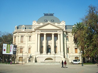 """Santiago Museum of Contemporary Art - """"Museo de Arte Contemporáneo Santiago"""". On the front can be read the sign:  """"Academia de Bellas Artes"""" (Academy of Fine Arts), which was the building's use before the museum moved here."""