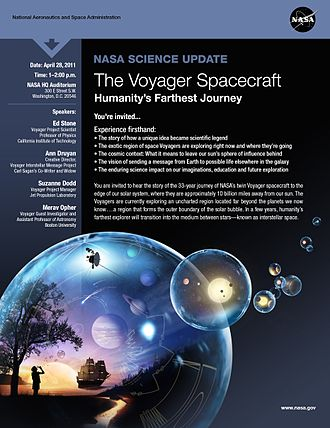 Voyager program - Image: NASA Science Update The Voyager Spacecraft Humanity's Farthest Journey