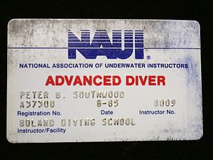 National Association of Underwater Instructors - NAUI Advanced Diver certification card