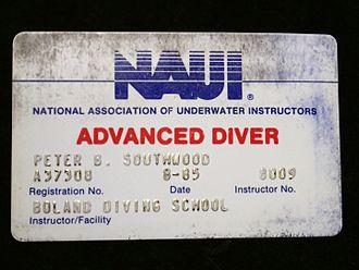 National Association of Underwater Instructors - NAUI Advanced Diver certification card