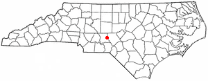 Biscoe, North Carolina - Image: NC Map doton Biscoe