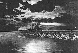 Albemarle Sound - Norfolk Southern Railroad passenger train crosses the Albemarle Sound trestle in 1918. The trestle was demolished in the late 1980s.