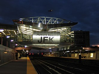 Howard Beach–JFK Airport (IND Rockaway Line) - View of the subway platforms and mezzanine at night