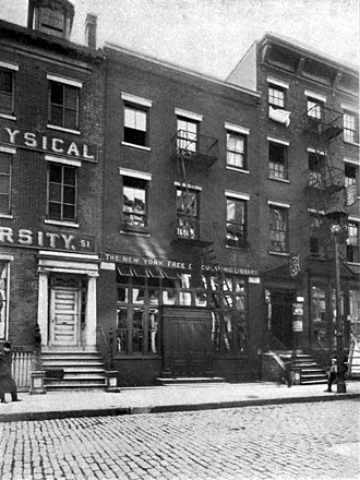 New York Free Circulating Library - 49 Bond Street (opened 1883) where the first branch of the NYFCL settled for most of its existence.