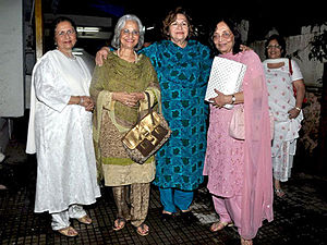 Nanda (actress) - Nanda (first from left) with Waheeda Rehman, Helen, and Sadhana in 2010