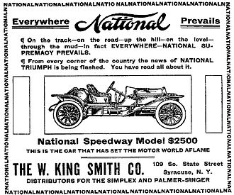 National Motor Vehicle Company - A 1910 National Automobile Advertisement - Syracuse Post-Standard, June 11, 1910