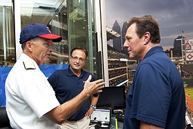 Navy Adm. James A. Winnefeld Jr. interviewed by Cleveland Indians' broadcasters Matt Underwood, center, and Rick Manning, right, 2012.jpg