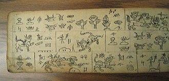 Dongba symbols - Image: Naxi manuscript (left) 2087
