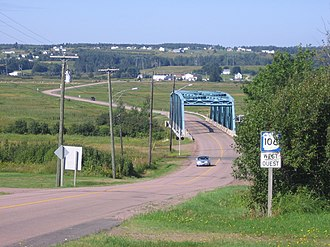 New Brunswick Route 106 - Route 106 crossing the Memramcook River floodplain in southeastern New Brunswick.