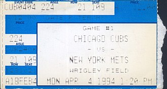 1994 Chicago Cubs season - A ticket for the Cubs' 1994 Opening Day game against the New York Mets.