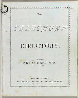 Telephone directory - New Haven directory, November, 1878.