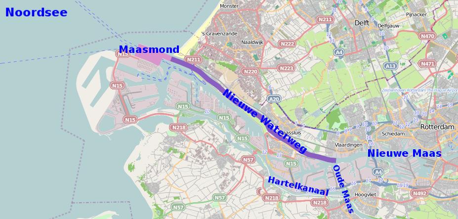 Nieuwe Waterweg Maasmond Location osm
