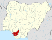 Diocese of Issele-Uku is the northern portion of Delta State which is shown in red.
