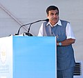 Nitin Gadkari addressing at the foundation stone laying ceremony of the International Ship Repair Facility of Cochin Ship Yard Limited, at Cochin, Kerala.jpg
