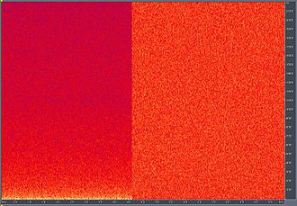 Pink noise - Relative intensity of pink noise (left) and white noise (right) on an FFT spectrogram with the vertical axis being linear frequency.