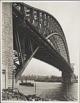 Northern abutment tower of the Harbour Bridge looking south, 1932 (8282717079).jpg
