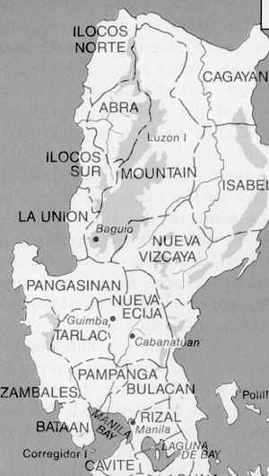 Cordillera Administrative Region - An old U.S. Army map showing Mountain province covering the present areas of Benguet, Ifugao, Kalinga and Apayao