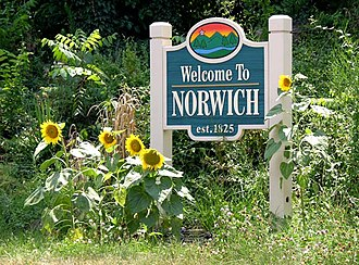Norwich, Roanoke, Virginia - Welcome signage off Memorial Avenue