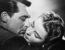 Publicity image of Grant and Bergman embracing from the film Notorious