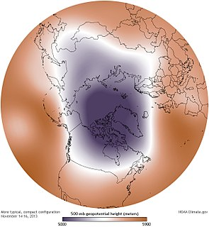 Polar vortex Persistent cold-core low-pressure area that circles one of the poles