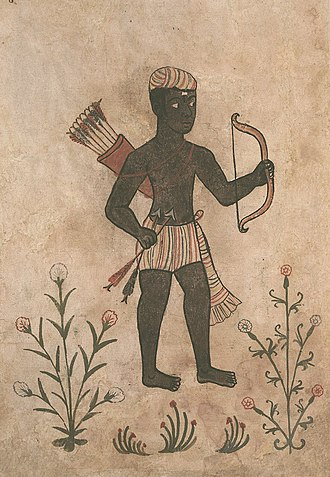 Makuria - A Nubian archer on a Portuguese manuscript from the 16th century