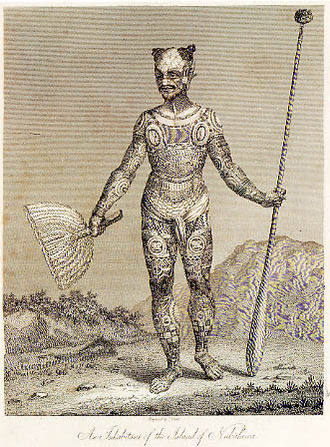 Nuku Hiva - A warrior of Nuku Hiva with a spear and a hand fan by Wilhelm Gottlieb Tilesius von Tilenau, 1813.