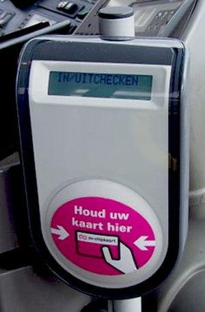 OV-chipkaart - OV-chipkaart reader in a bus.