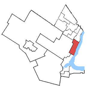Oakville (electoral district) - Oakville in relation to the surrounding area ridings