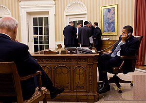 International reactions to the Egyptian revolution of 2011 - U.S. President Barack Obama speaks on the phone with Mubarak during the protests