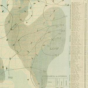 1897 Atlantic hurricane season - Image: October 20, 1897 hurricane 5 map