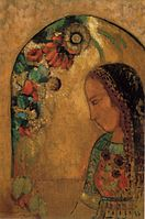 Odilon Redon - 'Lady of the Flowers', oil on canvas, c. 1890-95.JPG
